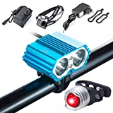 S SUNINESS Bike Lamp Set, Super Bright 5000 Lumens 4 Modes Rechargeable Waterproof Durable Bicycle Front LED Light and Free Taillight with Battery Pack for Road Cycling Safety Flashlight(Blue-2LED)