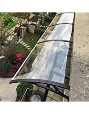 INTBUYING Polycarbonate Window Door Awning Canopy Outdoor UV Rain Protection Patio Canopy with Black Bracket for Window & Door 47 * 70inch One-Piece Transparent