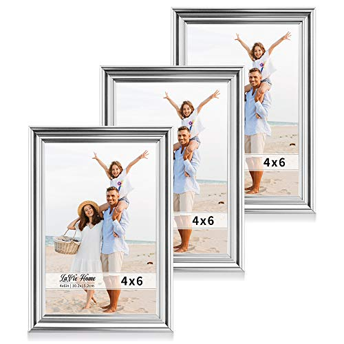 LaVie Home 4x6 Picture Frames(3 Pack, Silver) Single Photo Frame with High Definition Glass for Wall Mount & Table Top Display, Set of 3 Basic Collection (6 Photo Frame Silver)