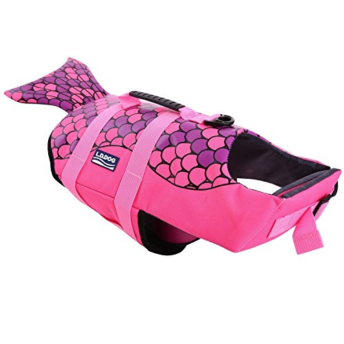 A-MORE Dog life jackets Dog saver Life Jacket Dog Swimming Vest Adjustable Life Jacket for Dogs (S, Pink-fish)]()