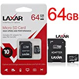 LAXTEK Ultra 64GB Micro SD TF Memory Card Class 10 with Micro SD to SD Adapter High Performance SD Card - Full HD & 4K Photos & Video Storage