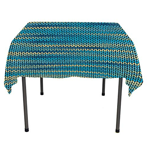 Yellow and Blue Table Cloths Spill Proof Knitted Melange Inspired Graphic Clothing Texture Pattern Teal Navy Blue Light Yellow Custom tablecloths Rectangle Tablecloth 60 by 120 inch