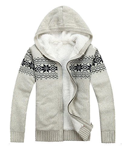 Men's Thick Knitted Zipper Cardigan Sweater with Hood White (Zipper Wool Sweater)