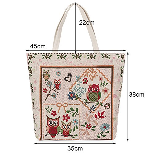 Shopping Owl Bag Chinese Canvas Bag Satchel Travel Handbag Bag Casual Pattern Tote White Shoulder Totem ParaCity Embroidery Tote Beach nTq7wxA6T