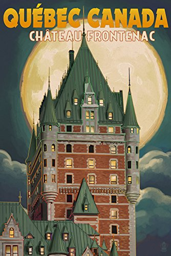 Quebec City, Canada - Chateau Frontenac and Full Moon (12x18 Art Print, Wall Decor Travel Poster)