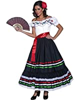 Smiffy's Women's Authentic Western Sexy Senorita Costume with Dress and Sash