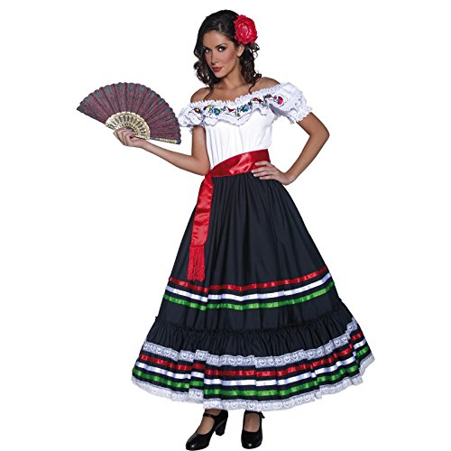 [Smiffy's Women's Authentic Western Sexy Senorita Costume, Dress and Sash, Western, Serious Fun, Size 14-16,] (Womens Western Costumes)