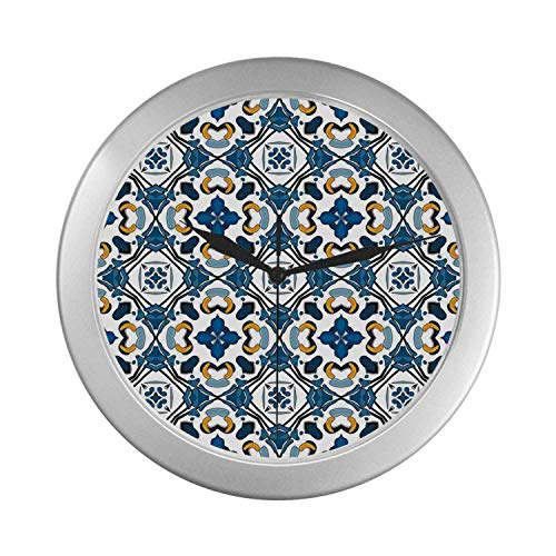 - C COABALLA Traditional House Decor Simple Silver Color Wall Clock,Portuguese Ceramic Classic Tilework Building Artisan European Image Print for Home Office,9.65