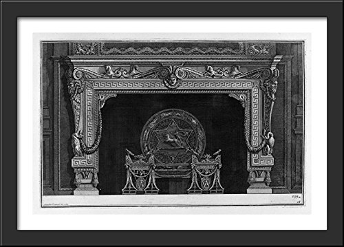 Fireplace: frieze of scrolls and sea horses with central mas