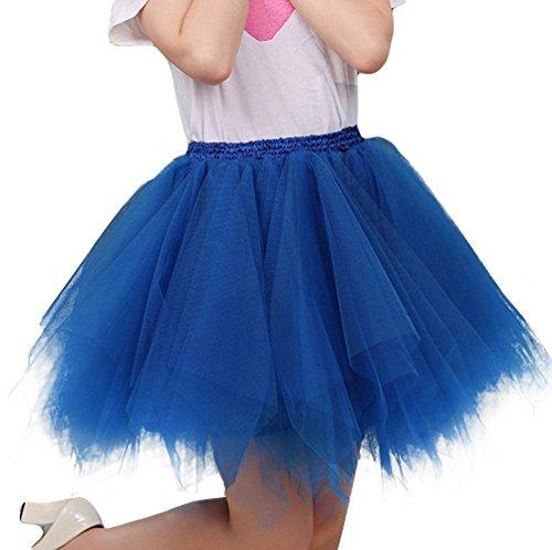 Anno di Partito 4 in blu Retro Principessa Danza Organza di Donna il Annata Prom di Imixcity per Balletto A Sottogonna Gonna Strati Tutu 50 Scuro Tulle qZXtSU