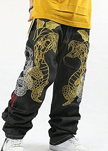 QIBOE Men's Hip Hop Graffiti POW Print Baggy Relaxed Denim Jeans-32
