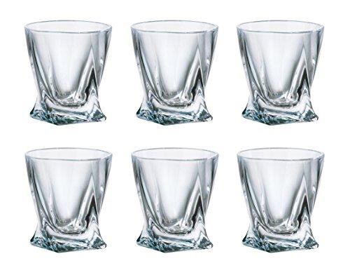 (SET of 6) Crystalex Bohemia Quadro, 2-Ounce Bohemian Crystal Glass Shot Glasses (Bohemia Crystal Glasses)