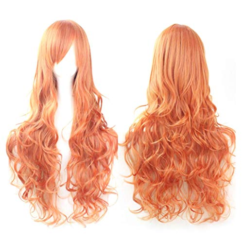 Jinjiums Women's Wigs,Fashion Funny Cosplay Costume Wigs Women Long Curl Wavy Red Halloween Party Anime Hair (N) -