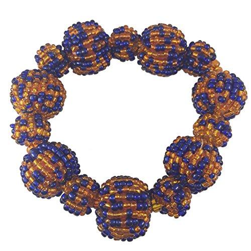 Gypsy Jewels Seed Bead Balls Beads Handmade Fun Random Stretch Bracelet (Orange & Blue) ()