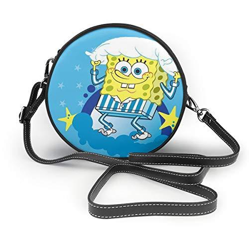 Women's Leatherwear Spongebob Squarepants Holds The Pillowcase Print Round Crossbody Shoulder Bag Top Handle Tote Handbag Bag - 7.1 X 7.1 X 2.36 Inch