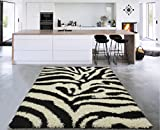 Sweet Home Stores Cozy Shag Collection Black and White Zebra Design Shag Rug (3'3 X5'0) Contemporary Living and Bedroom Soft Shaggy Area Rug