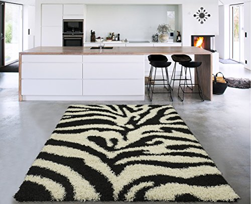 Cozy Shag Collection Black and White Zebra Design Shag Rug (3'3