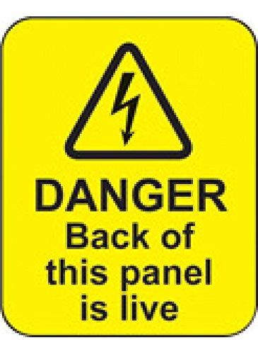 Caledonia Signs 59795 Gefahrenrückseite dieses Panels ist lebendiges Etikett, 40 mm x 50 mm, 100 Stück