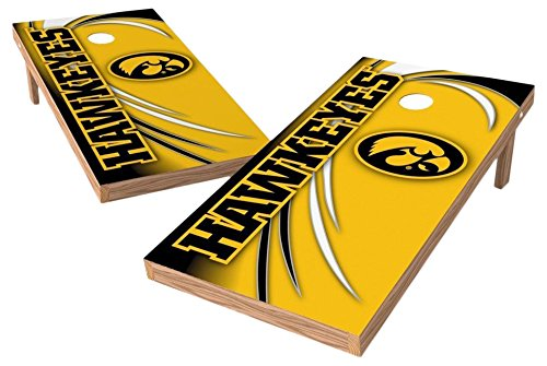PROLINE NCAA College 2' x 4' Iowa Hawkeyes Cornhole Board Set - Spiral (w/Bluetooth Speakers) Hawk Spiral