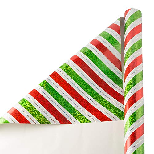 JAM PAPER Wide Gift Wrap - Christmas Wrapping Paper - 40 Sq Ft - Sparkling Christmas Stripes - Roll Sold Individually ()