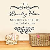 The Laundry Room Sorting Life Out One Load At a Time Wall Quote Vinyl Mural Art Decal Romoveable Black Peel and Stick Carved Home Decal Sticker
