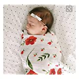 HGHG Muslin Swaddle Blankets Large Silky Soft 70% Bamboo Fiber 30% Cotton,47x47 Inches (Poppy)