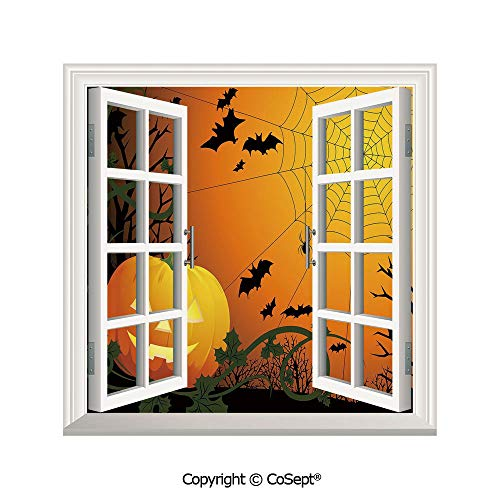 SCOXIXI Removable Wall Sticker,Halloween Themed Composition with Pumpkin Leaves Trees Web and Bats Decorative,Window Sticker Can Decorate A Room(25.86x22.63 -