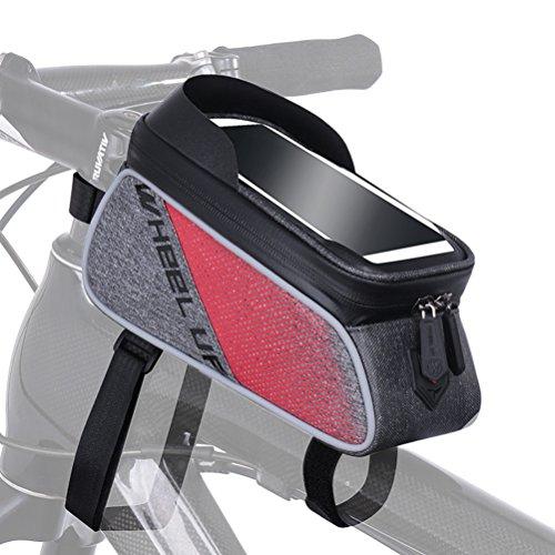KUOKALE Bicycle Frame Bag Bike Front Tube Handlebar Bag 6.0 inch Touch Screen Phone Case iPhone X/8/7 plus/7/6s/6 plus/5s Mobile Phone Bag Bike Front Frame Large Capacity Storage Bag Bikes Accessories