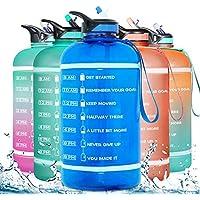 Gallon Waterfles (121 oz/82 oz) met tijdmarkering & stro, motiverende waterkruik BPA vrij lekvrije grote waterflessen…