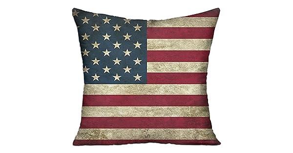 Amazon.com: HCZHUCK - Cojín decorativo retro de la bandera ...