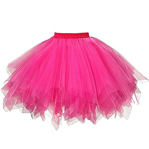 ZOMUSA Hot Sale Womens Pleated Gauze Costume Adult Party Tulle Short Skirt Fluffy Petticoat Tutu Dance Dress (One Size, Hot Pink) -