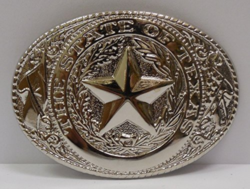 [State of Texas Lone Star State Logo Western Rodeo Belt Buckle - Silver] (Money Belt Buckle)