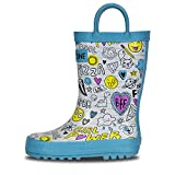 LONECONE Children's Waterproof Rubber Rain Boots in Fun Patterns with Easy-On Handles Simple for Kids, Oodles of Doodles, Toddler 8