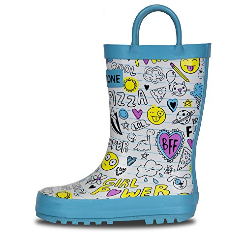 LONECONE Children's Waterproof Rubber Rain Boots in Fun Patterns with Easy-On Handles Simple for Kids, Oodles of Doodles, Toddler 8 by LONECONE (Image #8)