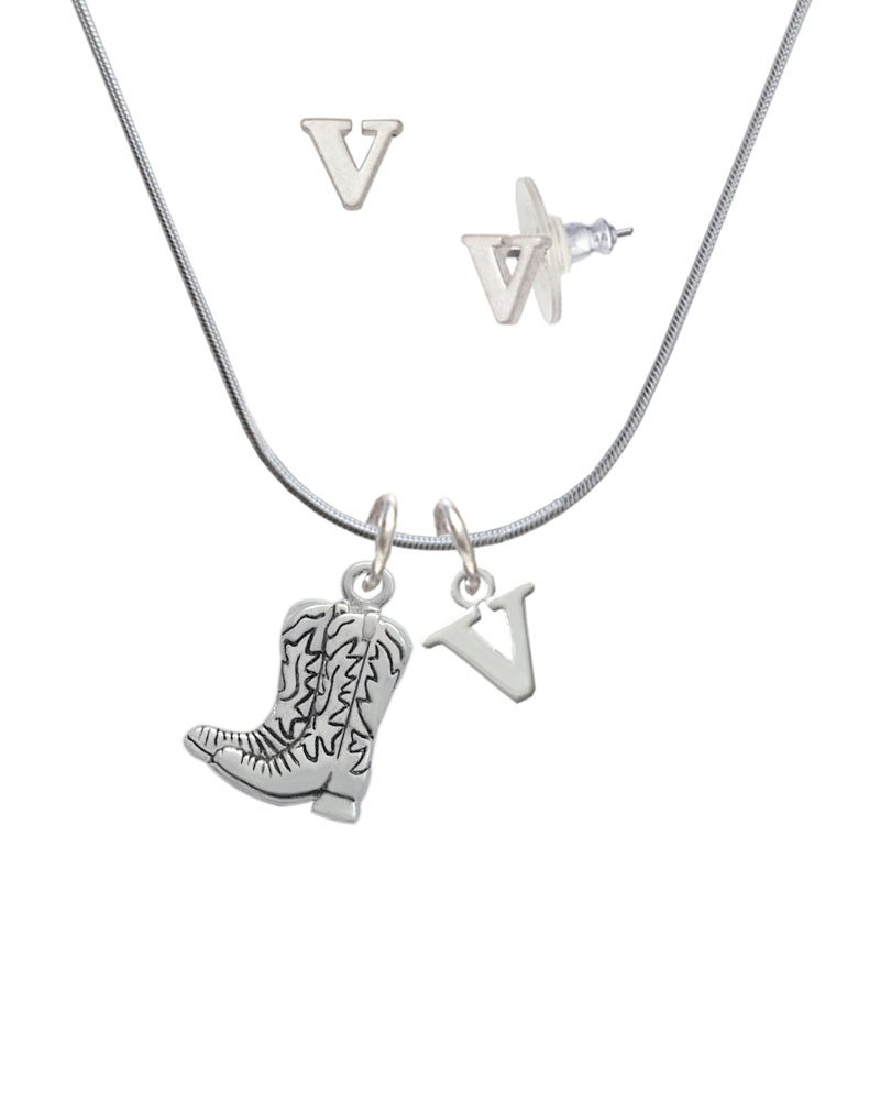 Silvertone Cowboy Boots - V Initial Charm Necklace and Stud Earrings Jewelry Set