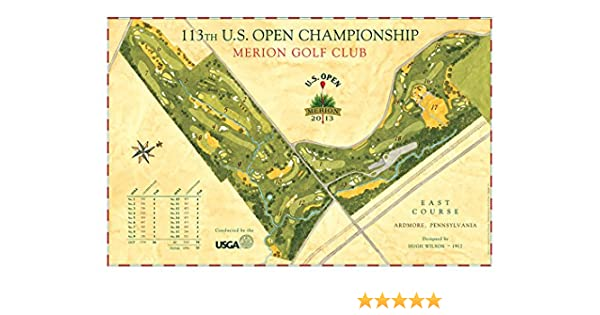 Signed US Open Course Map Of Merion GC By Lee Wybranski At - Us open map