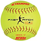 CHAMPRO NFHS - 12'' Fastpitch - Durahide Cover .47 cor (Optic Yellow, Red Stitching, Dozen)