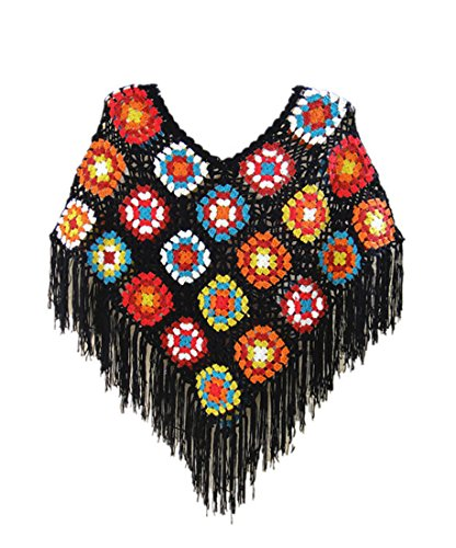 tinacrochetstudio Crochet Fringed Poncho Cape Shawls Wraps Granny Square Womens Coat Sweater (L, Black Base)