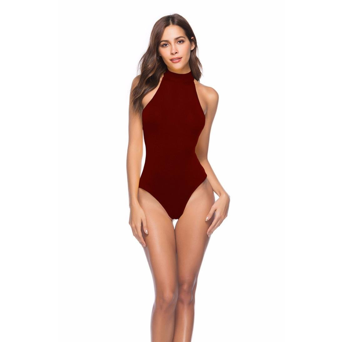 916dba27f42a Challyhope Women Sexy Solid Halter Bikini Skinny Bodysuit Backless Lace-up  Playsuit at Amazon Women's Clothing store: