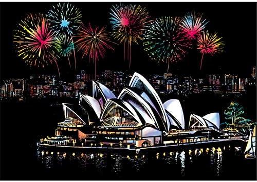 シドニーオペラハウススクラッチアートペーパードローイングスクラッチペインティングクラフト