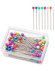 AIEX 100Pcs 1.5 Inch Sewing Pins Colorful Glass Ball Head Straight Quilting Pins for Dressmaker Jewelry DIY Decoration, Art Craft and Sewing Projects