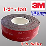 "Genuine 3M 1/2"" (12mm) x 15 Ft VHB Double Sided Foam Adhesive Tape 5952 Grey Automotive Mounting Very High Bond Strong Industrial Grade (1/2"" (w) x 15 ft)"