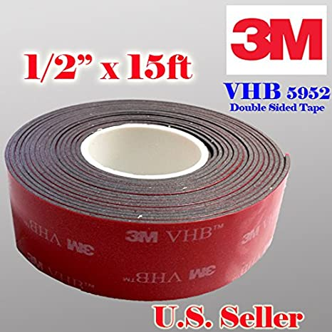 Genuine 3M 1/2' (12mm) x 15 Ft VHB Double Sided Foam Adhesive Tape 5952 Grey Automotive Mounting Very High Bond Strong Industrial Grade (1/2' (w) x 15 ft) VHB 5952
