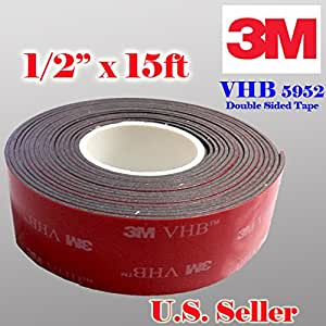 """3M Genuine 1/2"""" (12mm) x 15 Ft VHB Double Sided Foam Adhesive Tape 5952 Grey Automotive Mounting Very High Bond Strong Industrial Grade (1/2"""" (w) x 15 ft)"""