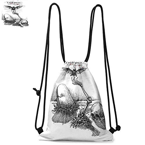 Halloween Decorations Drawstring backpack series Dead Skull Zombie Out Grave and Flying Bat Hand Drawn Spooky Picture Convenient choice for daily activities W13.4 x L8.3 Inch Black White