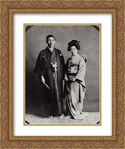 Japan Culture - 20x24 Gold Ornate Frame and Double Matted Museum Art Print - Kimono Ensemble with Chrysanthemums