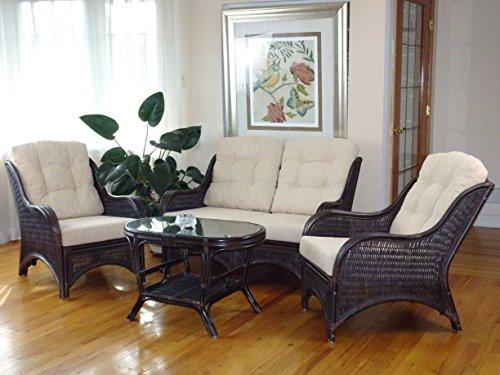 (Jam Rattan Wicker Living Room Set 4 Pieces 2 Lounge Chair Loveseat/sofa Coffee Table Dark Brown. Cream Cushions)