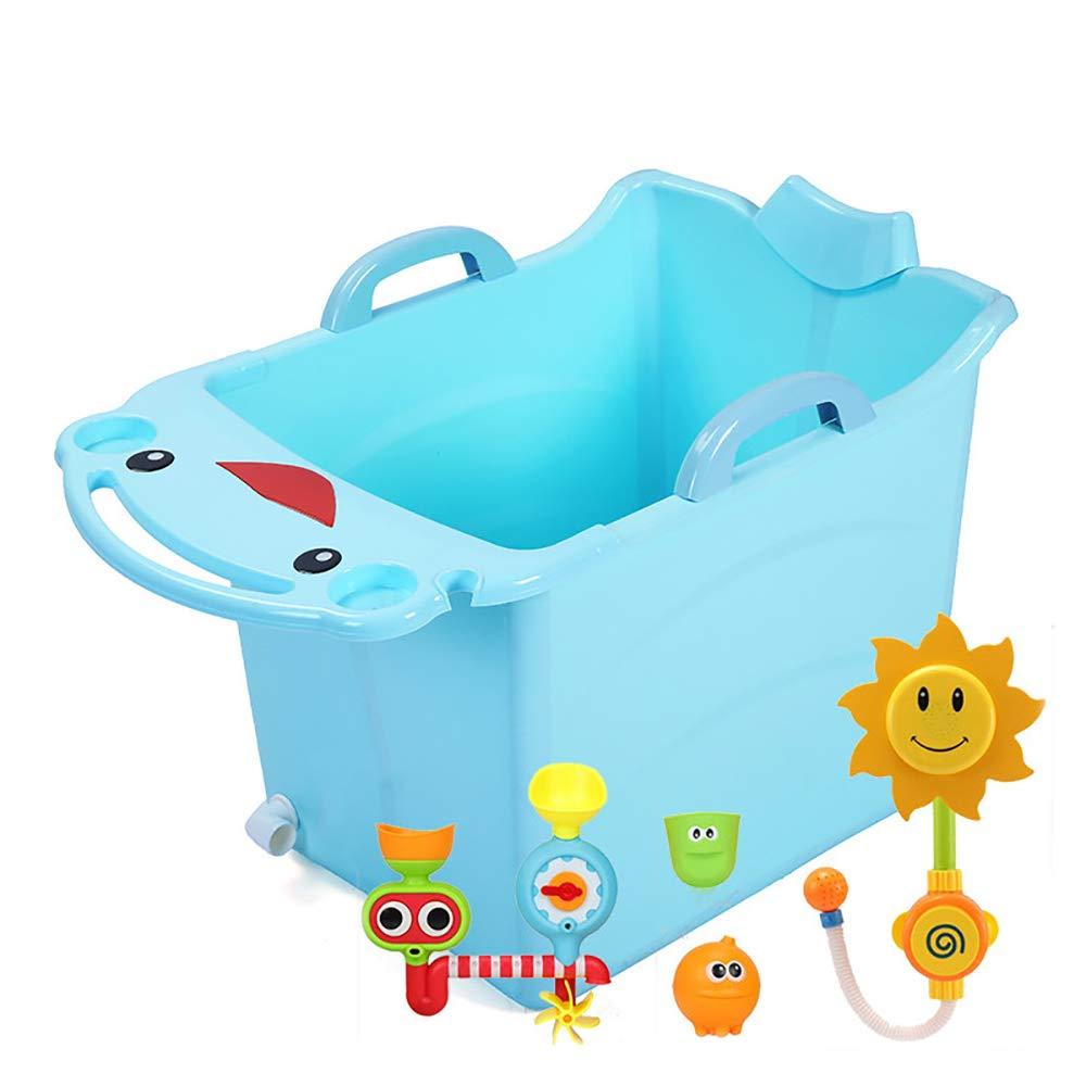 ZJZ Planschbecken für Kinder Groß, Bequeme Faltbare Verdickung Wäschewanne Wäsche Kinderwanne Geeignet für Zu Hause Badewerkzeuge 2 Farben (Farbe   Rosa und Blau) H