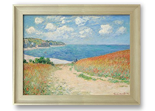 Path in The Wheat at Pourville by Claude Monet Framed Art Print Famous Painting Wall Decor Natural Wood Finish Frame