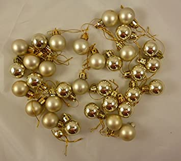 32 x 25mm Mini Christmas Baubles - PALE GOLD - Christmas Tree ...